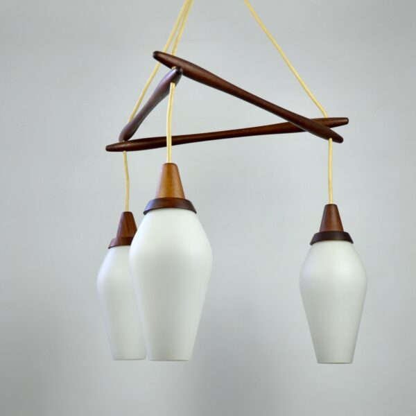 divine style french antiques danish modern teak pendant light 3 lights 1960s 1