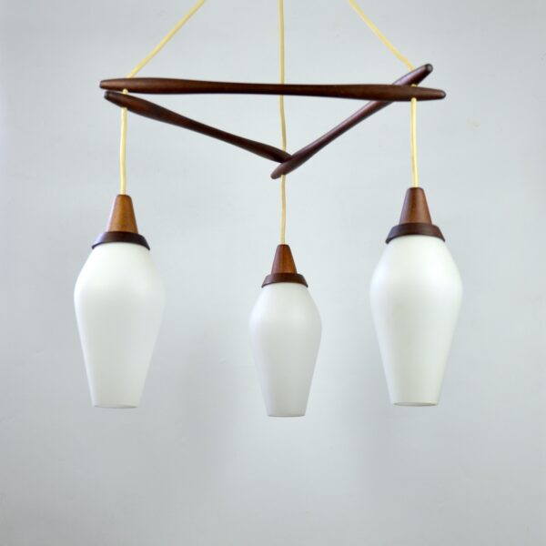 divine style french antiques danish modern teak pendant light 3 lights 1960s 2