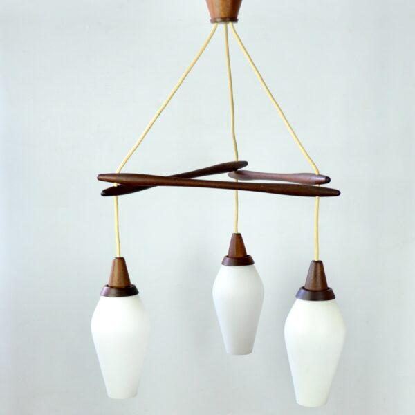 divine style french antiques danish modern teak pendant light 3 lights 1960s 3