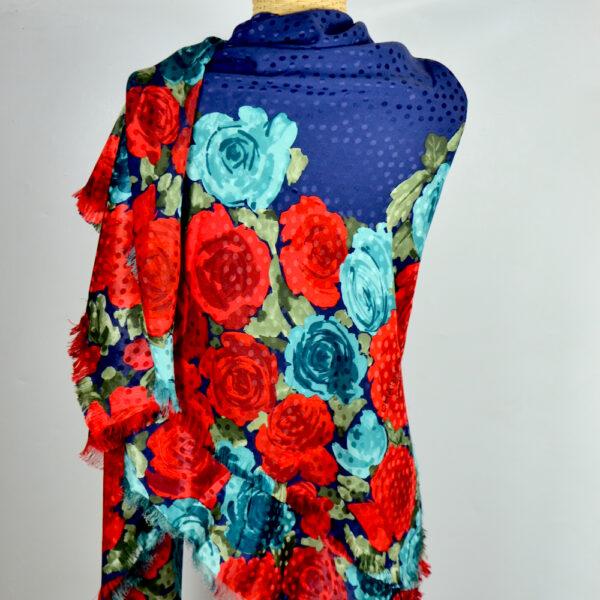 Charles Jourdan silk shawl large navy blue aqua red roses french designer silk scarf couture 2 (1)