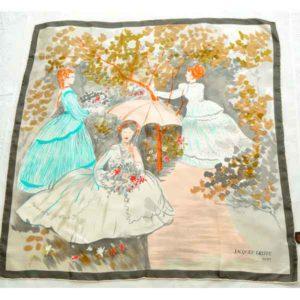 Jacques-Griffe-Paris-1950s-silk-scarf-Ladies-Gathering-Flowers-05