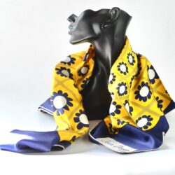 Jean desses silk scarf vintage french designer scarf op art design 1960s navy blue yellow (1)