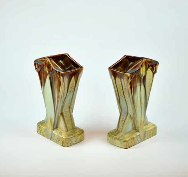 A Pair Of Thulin Pottery Art Deco Drip Glaze Stoneware Vases