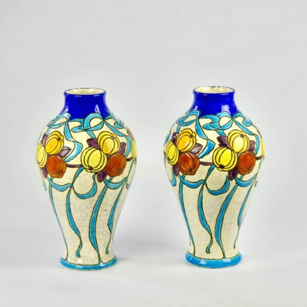 divine style french antiques charles catteau keramis pair vases art deco 1