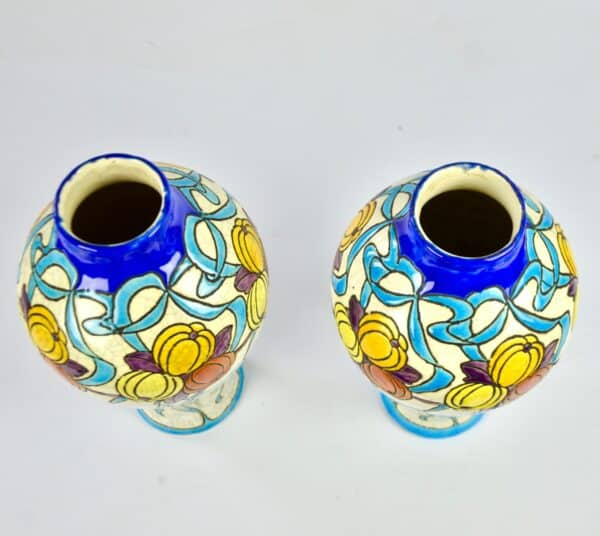 divine style french antiques charles catteau keramis pair vases art deco 3