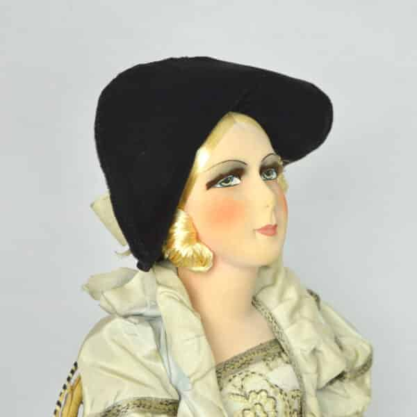 Antique French boudoir doll, original outfit blonde,c1930 2