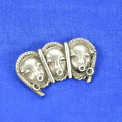 Art Deco silver brooch african masks divine style french antiques