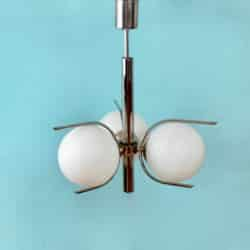 divine style french antiques mid century chromed steel globe light fixture