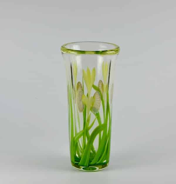Large Iris Art Glass Vase By Bruce Sillars For Orient Flume