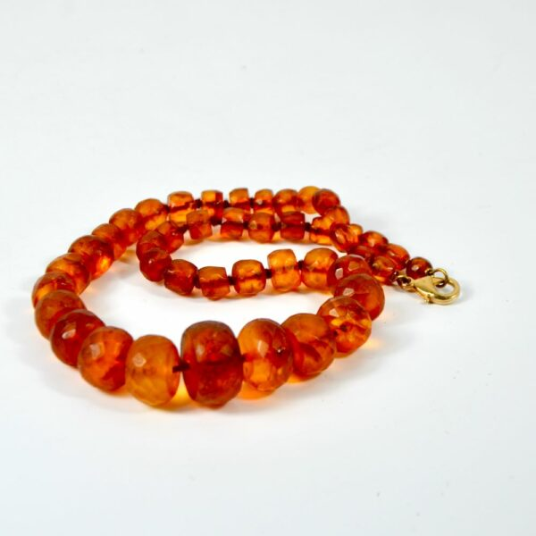 antique amber facetted bead necklace divine style french antiques 1