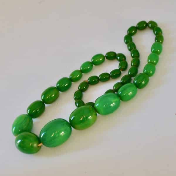 divine style french antiques green bakelite necklace 1