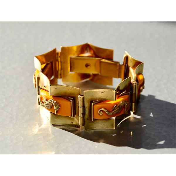 French Art Deco cuff bracelet mounted with La Fontaine medallion by ...