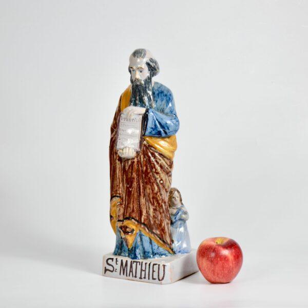 Auguste Nayel Polychrome sculpture St Matthieu Evangelist 19thc divine style french antiques