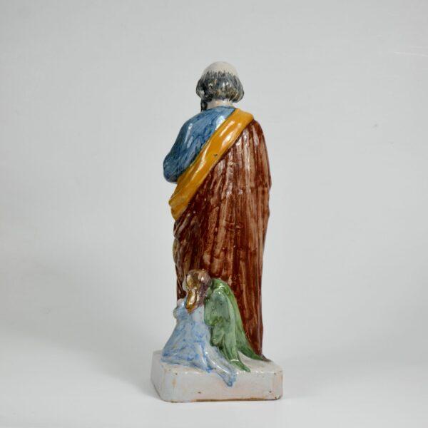 Auguste Nayel Polychrome sculpture St Matthieu Evangelist 19thc divine style french antiques c