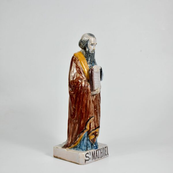 Auguste Nayel Polychrome sculpture St Matthieu Evangelist 19thc divine style french antiques a