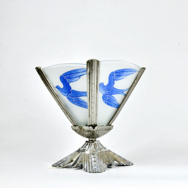 art deco nickel-plated bronze lamp bluebirds divine style french antiques 1