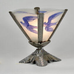 art deco nickel-plated bronze lamp bluebirds divine style french antiques