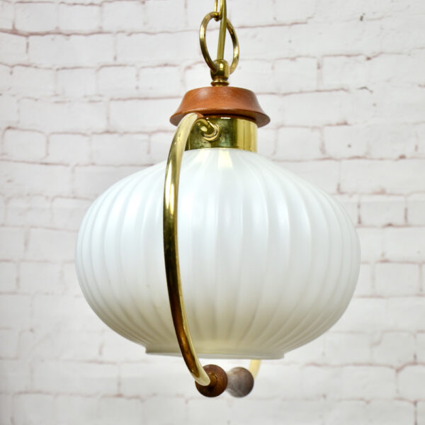 Danish modern light in teak and glass 1960s pendant light ceiling light 1