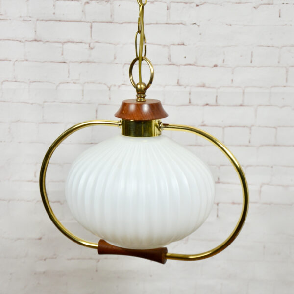 Danish modern light in teak and glass 1960s pendant light ceiling light 2 (1)