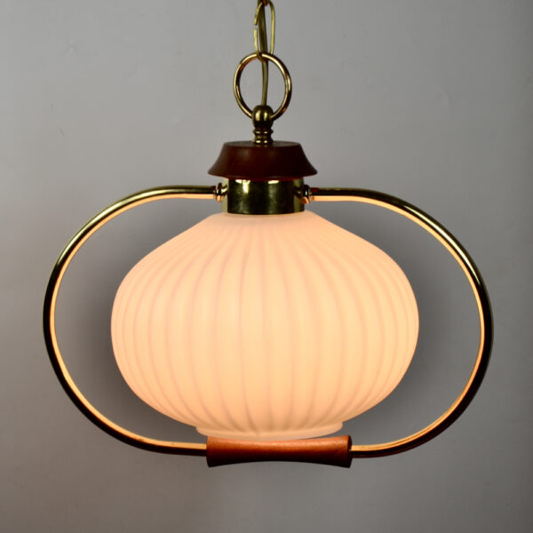 Danish modern light in teak and glass 1960s pendant light ceiling light 5