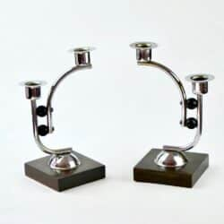 divine style french antique art deco chrome candlesticks 02