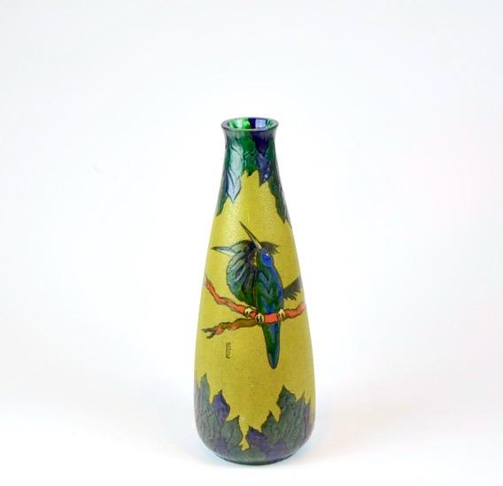 leune french art deco art nouveau vase enamel glass daum french 1930s glass 3