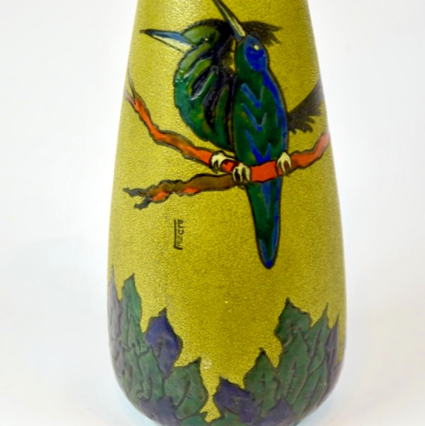 leune french art deco art nouveau vase enamel glass daum french 1930s glass 4