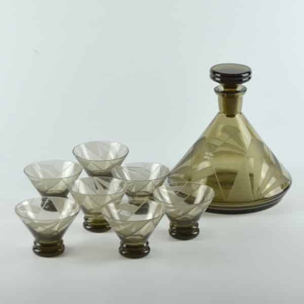 french art deco decanter glasses 3