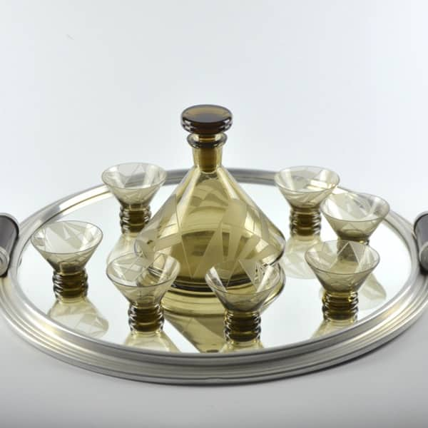 french art deco decanter glasses