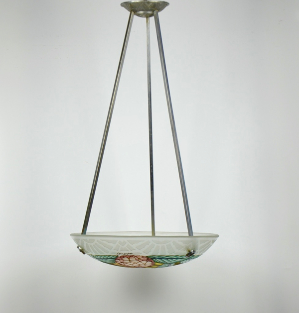 loys lucha light chandelier french art deco enamelled glass 1920s 10