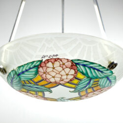 loys lucha light chandelier french art deco enamelled glass vasque 1930s 9