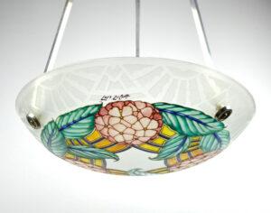 loys lucha light chandelier french art deco enamelled glass vasque 1930s 9