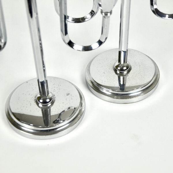 divine style french antiques chrome art deco candlesticks pair 3