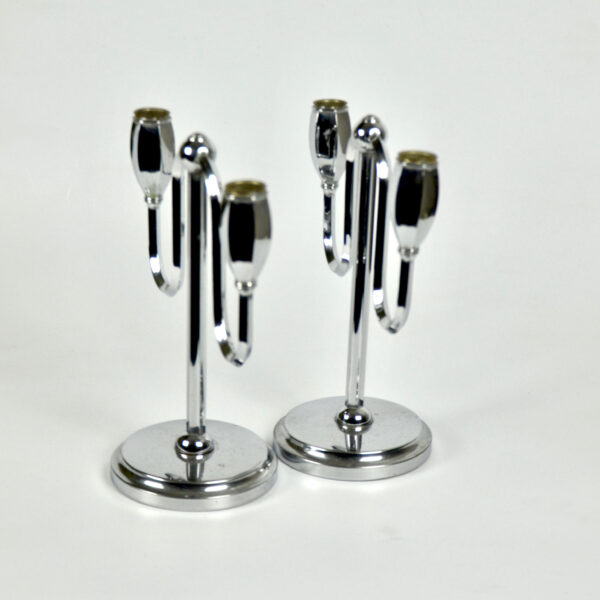 divine style french antiques chrome art deco candlesticks pair 4