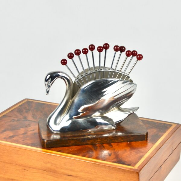 Art Deco cocktail stick set - swan, in chrome and bakelite 1930s
