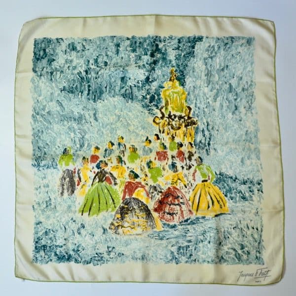 divine style french antiques vintage jaques fath silk scarf 1