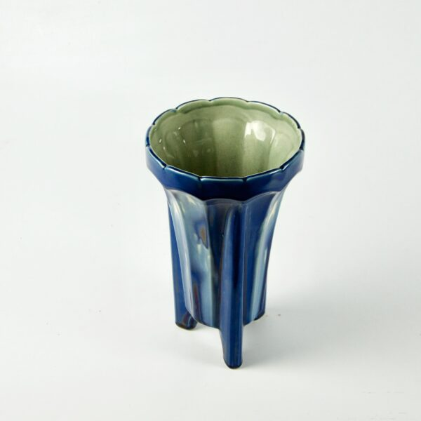 Fives Lille Art Deco vase with marbled blue glaze 1930s 3