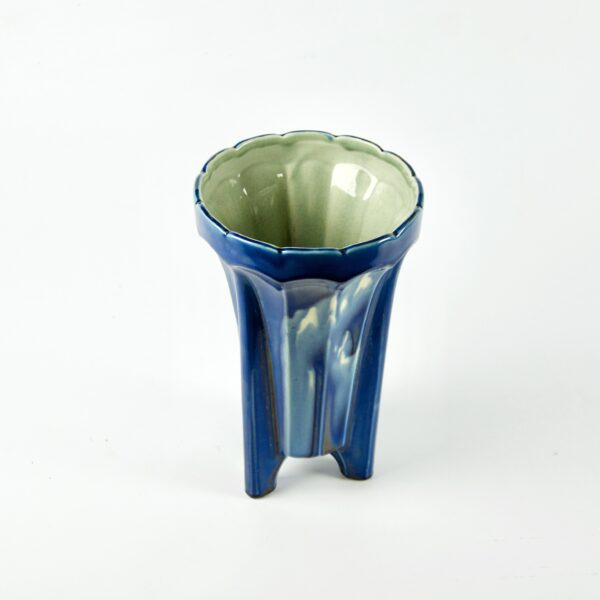 divine style french antiques Fives Lille Art Deco vase with marbled blue glaze 1930s 2