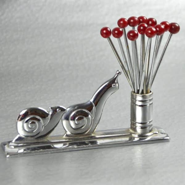 divine style french antiques French Art Deco chrome bakelite cocktail stick set snails racing 1