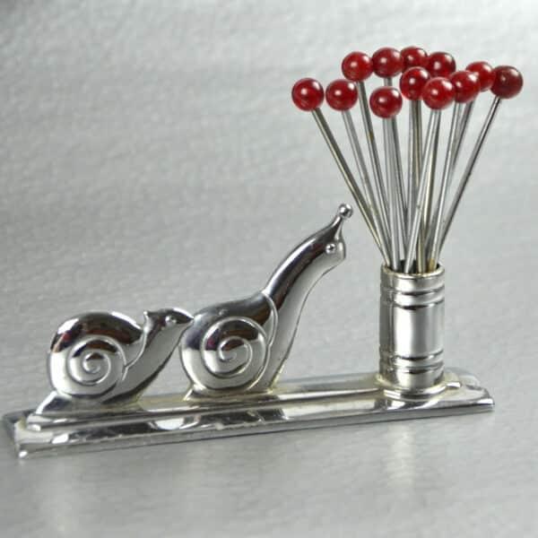 art deco cocktail stick set bakelite chrome snails