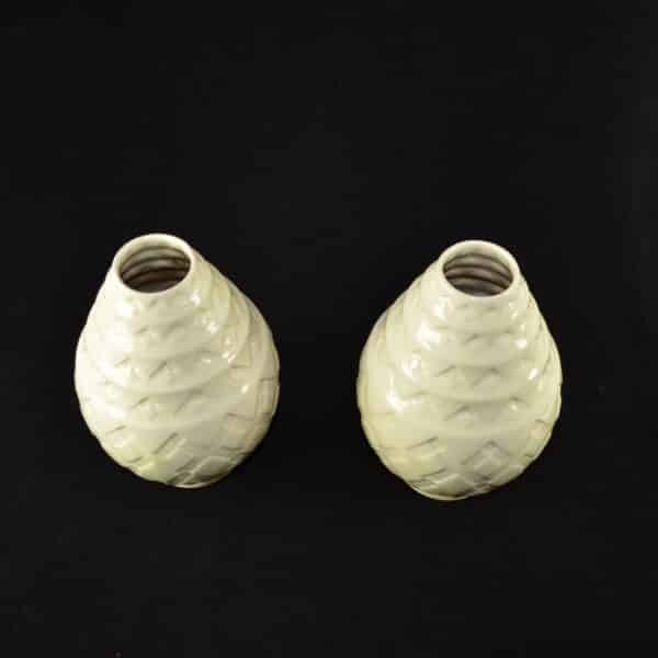 divine style french antiques Pair Charles Catteau Crackle Glaze Art Deco Vases 2