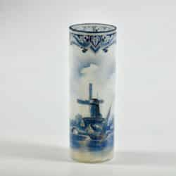 divine style french antiques Rare Legras Delft Opal Glass Vase, c1914
