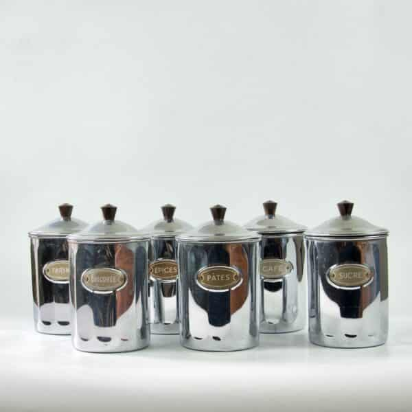 divine style french antiques chrome bakelite spice jars 5