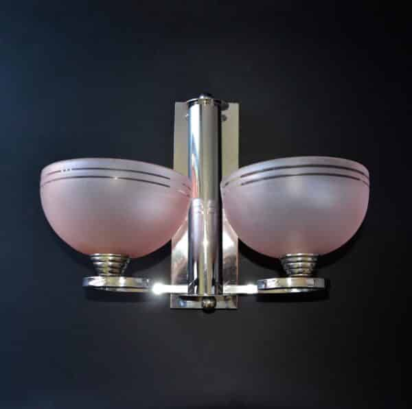 divine style french antiques pair french art deco chrome sconces 7