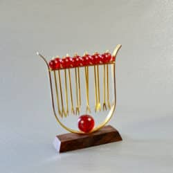 divine style french antiques French Art Deco bakelite cocktail stick - Lyre