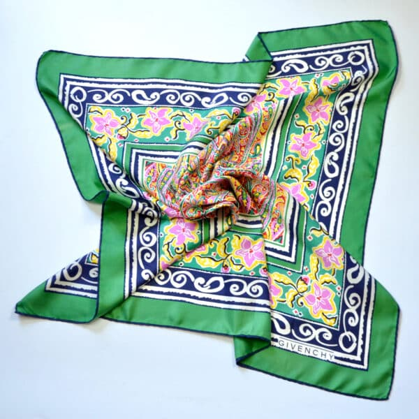 divine style french antiques Givenchy silk scarf green 4