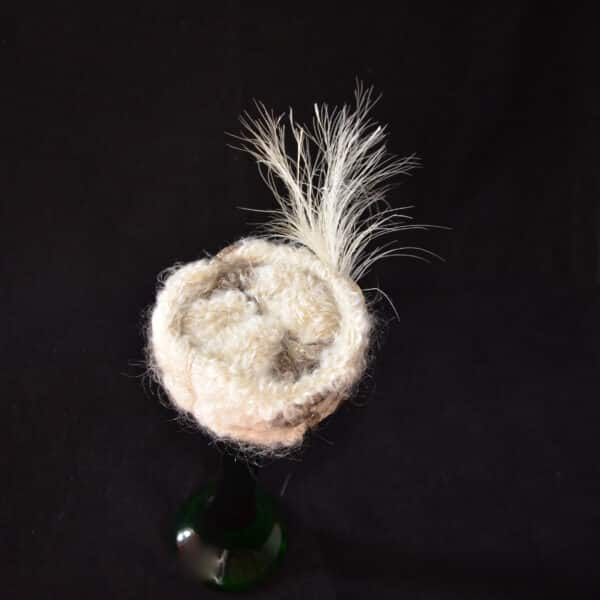divine style french antique doll's hat toque fur feather 12