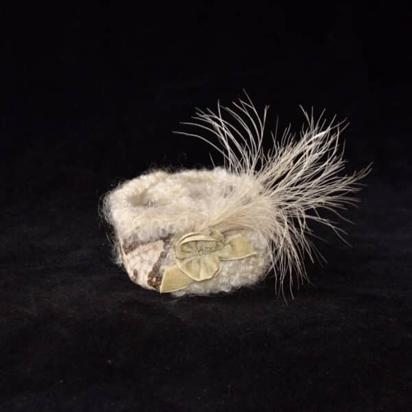 divine style french antique doll's hat toque fur feather 11