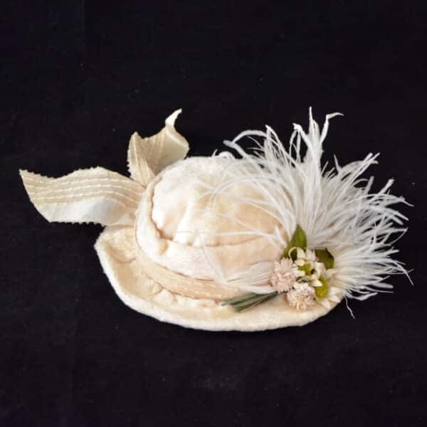 divine style french antique doll's hat fur feather 5