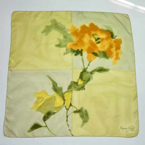 divine style french antiques jacques fath silk scarf lemon floral 60s 1